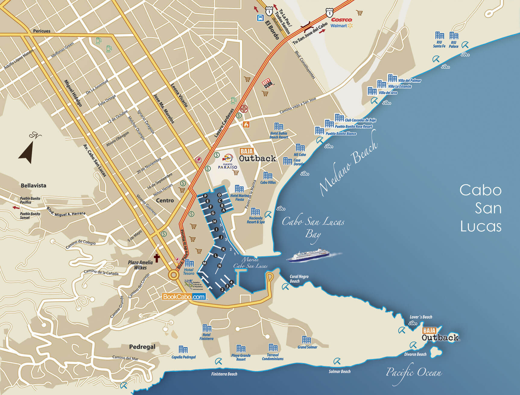Map Cabo San Lucas Cabo San Lucas Map on